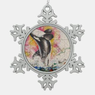 Schwertwalwalkarte Schneeflocken Zinn-Ornament