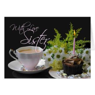 Schwester Blumen eines Geburtstags-TeeYum Grußkarte