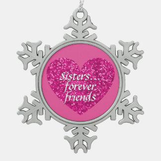 Schwester-für immer Freund-Liebe-Rosa-Glitzer-Herz Schneeflocken Zinn-Ornament