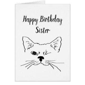 Schwester-Geburtstags-Spaß-Zitat, das Katzen-Spaß Karte