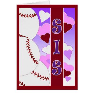 Schwester - i-Liebe Sie mehr als Baseball Grußkarte