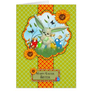 Schwester-niedliche Ostern-Karte mit Kaninchen und Karte