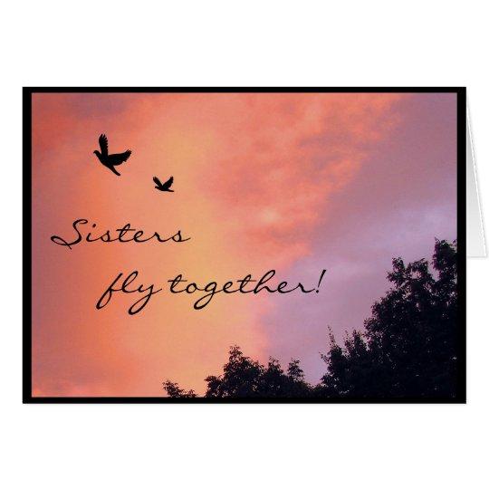 Schwester-Tauben am Sonnenuntergang Karte