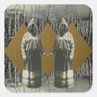Schwester-Wald Quadratischer Aufkleber