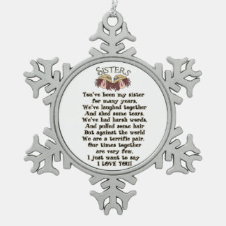 Schwester-Weihnachtsfeiertags-Gedicht-Verzierung Schneeflocken Zinn-Ornament
