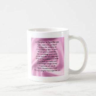 Schwiegertochter-Gedicht - rosa Seide Kaffeetasse