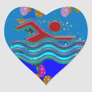 SCHWIMMEN:  Cooler Verstand in heiße Zeiten Herz-Aufkleber