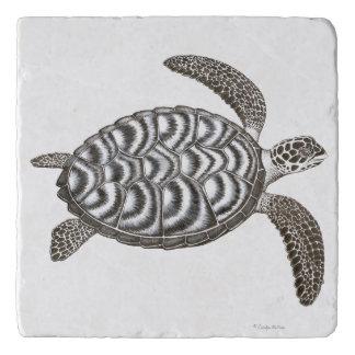 Schwimmen Hawksbill Meeresschildkröte-Stein Trivet Töpfeuntersetzer