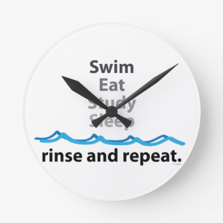 Schwimmen isst Studien-Schlaf Runde Wanduhr