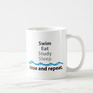 Schwimmen, isst, studiert, schläft… Spülen und Kaffeetasse