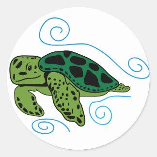 Schwimmen-Meeresschildkröte-Aufkleber Runder Aufkleber
