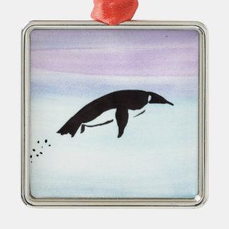 Schwimmen-Pinguin Quadratisches Silberfarbenes Ornament