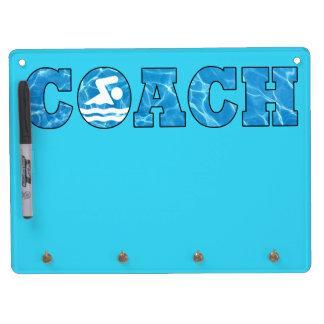 Schwimmen-Trainer-Büro-Dekor-Pool-Wasser-weißes Trockenlöschtafel Mit Schlüsselanhängern