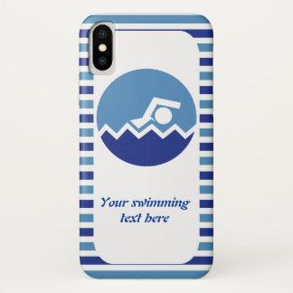 Schwimmengeschenke, blaue Streifen der iPhone X Hülle