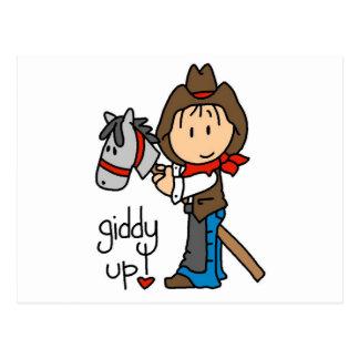Schwindlige hohe Cowboy-T-Shirts und Geschenke Postkarte