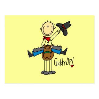 Schwindlige hohe Cowboyt-shirts und -geschenke Postkarte