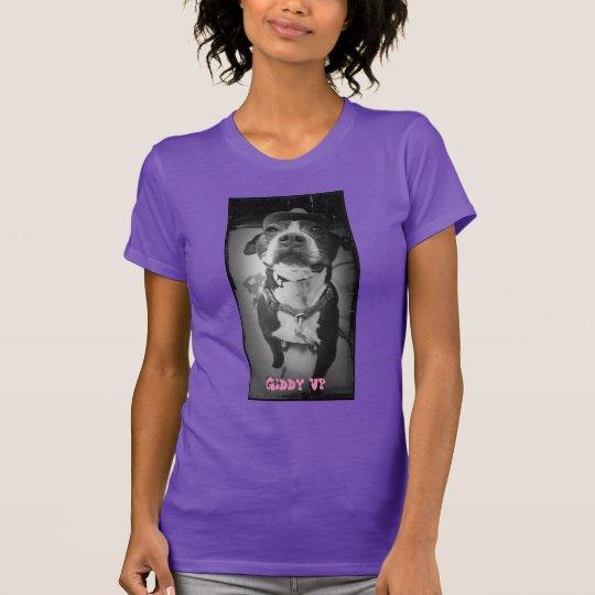 Schwindlige hohe Damen-lila T - Shirt