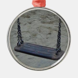 Schwingen am Spielplatz, Sommer-Sand-Strand Silbernes Ornament