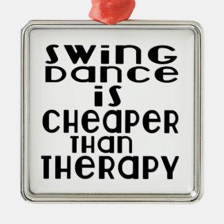 Schwingen-Tanz ist billiger als Therapie Quadratisches Silberfarbenes Ornament