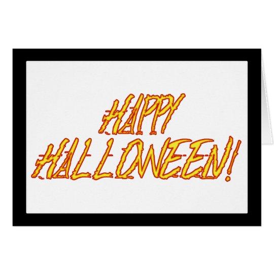 Scratchy gelbes u. rotes Halloween-Text-Bild Karte