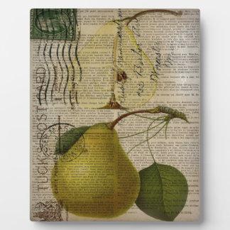 scripts dekorative Vintage botanische Kunstbirne Fotoplatte