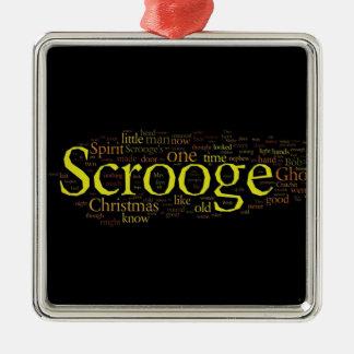 Scrooge Weihnachtscarol-Wort-Kunst Silbernes Ornament