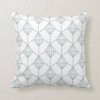 Seafoam grünes und weißes Diamant-Muster Kissen