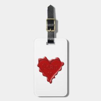 Sean. Rotes Herzwachs-Siegel mit NamensSean Kofferanhänger