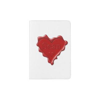 Sean. Rotes Herzwachs-Siegel mit NamensSean Passhülle