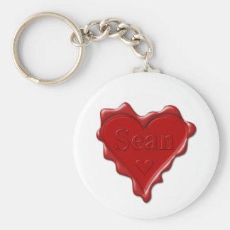 Sean. Rotes Herzwachs-Siegel mit NamensSean Schlüsselanhänger