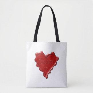 Sean. Rotes Herzwachs-Siegel mit NamensSean Tasche