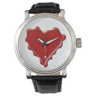 Sean. Rotes Herzwachs-Siegel mit NamensSean Uhr