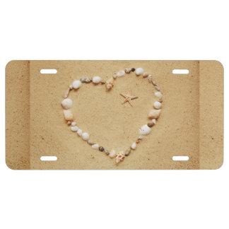 Seashell-Herz mit Starfish US Nummernschild