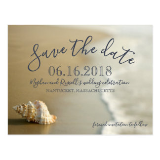 Seashell-Strand-Hochzeits-Save the Date Postkarte
