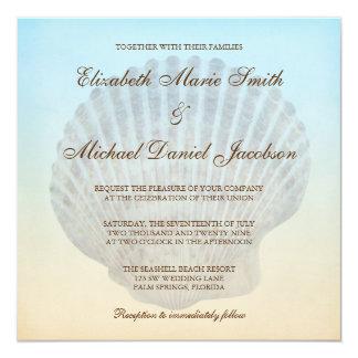 Seashell-tropische Strand-Hochzeits-Einladungen Quadratische 13,3 Cm Einladungskarte