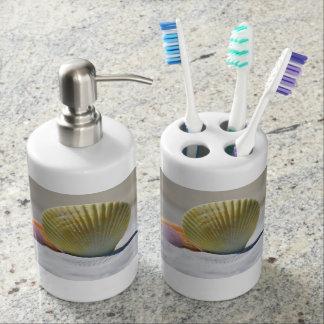 Seashell-Zahnbürste-Halter-und Seifen-Zufuhr-Set Badsets