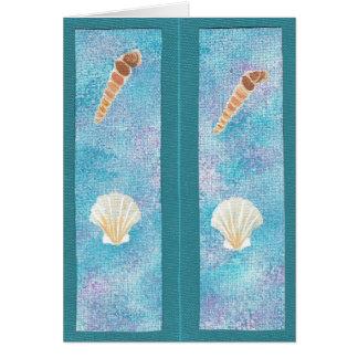 Seashells auf Blauem und Lila, Lesezeichenkarten Karte