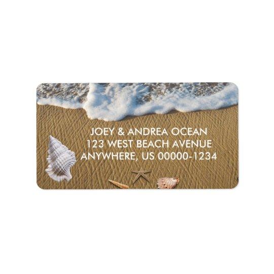 Seashells auf dem Strand Adress Aufkleber