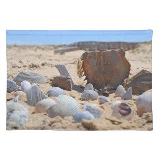 Seashells auf dem Strand durch Shirley Taylor Stofftischset