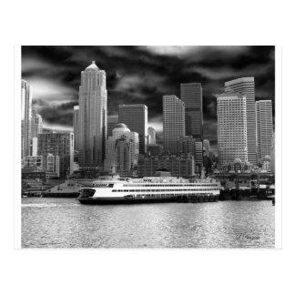 Seattle-Skyline Schwarzweiss Postkarte
