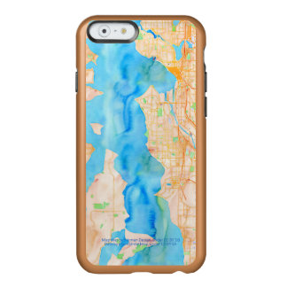 Seattle und Puget Sound-Aquarell-Karte Incipio Feather® Shine iPhone 6 Hülle