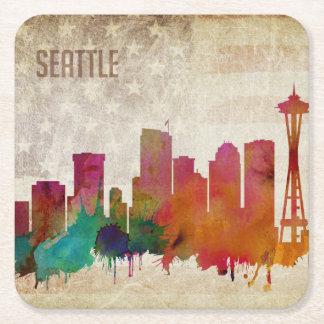 Seattle, WA| Aquarell-Stadt-Skyline Rechteckiger Pappuntersetzer