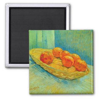 Sechs Orangen durch Vincent van Gogh Quadratischer Magnet