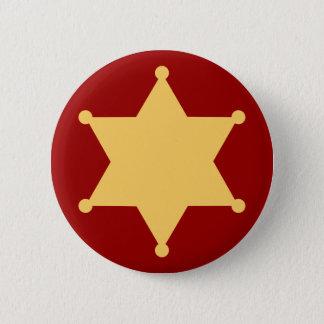 Sechseck Sheriffstern hexagon sheriff's badge Runder Button 5,7 Cm
