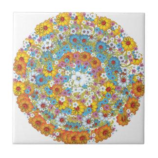 Sechzigerjahre Vintages BlumenBlumenmuster Kleine Quadratische Fliese