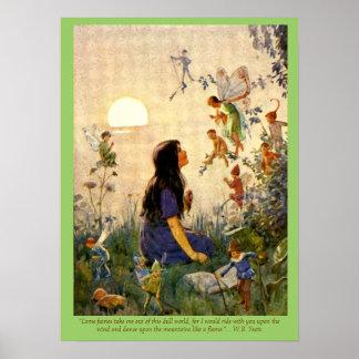 Secrets féeriques et copie vintage de citation de  affiche