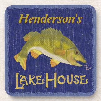 See-Haus-Bass-Fische rustikales See  addieren Getränkeuntersetzer