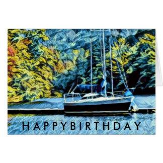 See-Haus-Boots-Geburtstags-Wünsche für Männer Karte