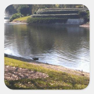 See und Stein Quadratischer Aufkleber