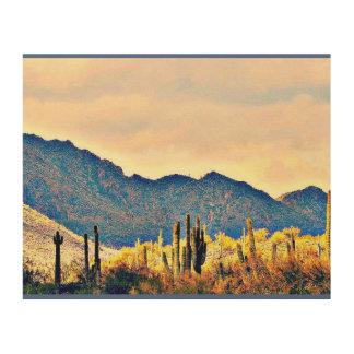 Seeangenehme Saguaros-Landschaftshölzerne Holzleinwand